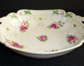 Nippon Vintage Porcelain Bowl Hand Painted Roses Small Double Handled White Pink Mauve Green Gold Floral