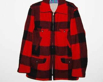 SALE.....Save 50%   Vintage Coat Red and Black Hunter Plaid Wool Soo 1950's