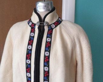 Alpine Sweetheart - 1960's Cream Wool Swiss Inspired Zip Front Jacket