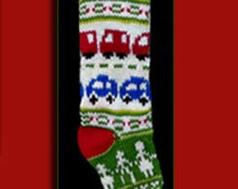 One hand knit Christmas stocking,  Personalized, made of pure wool yarn,  fully lined -- red car blue car and dancing figures