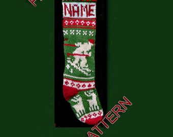 Pattern only, Hand knit Christmas stocking, -- Skier, deer and snowflake