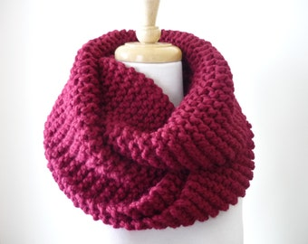 """Knit Infinity Scarf 10"""" x 50""""  Chunky Cranberry Hand Knit Circle Scarf Eternity Scarf 10"""" x 54"""" Womens Infinity Scarf - Ready to Ship"""