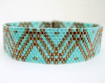 Peyote Bracelet / Beaded Bracelet in Brown and Sea Green / Seed Bead Bracelet /  Geometric Bracelet / Beadwoven Bracelet / Beadwork Bracelet