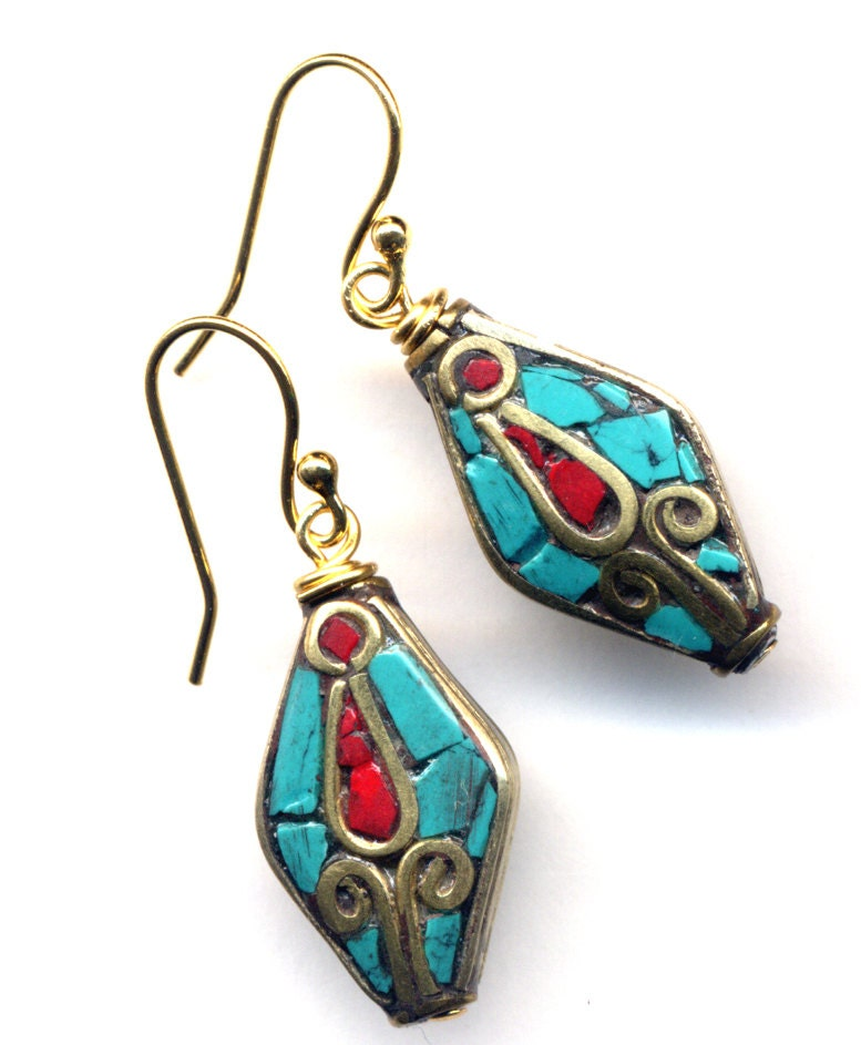 nepal turquoise and coral earrings tulip earrings ethnic