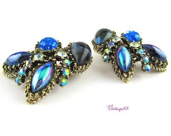 Earrings Rhinestone Blue art glass clip on