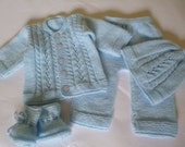 Knitted Baby  Boy Set. Newborn Outfit. Coming Home  Ensemble. Baby Shower Suit.  Antiallergic Yarn