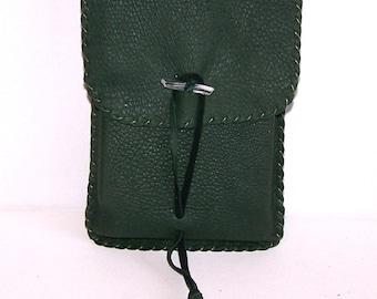 Leather Tarot Bag / Medicine Bag...LARGE Vertical Flap...GREEN