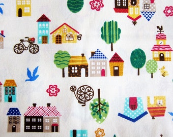 Cotton Fabric By The Yard - Town Houses Fabric - Half Yard