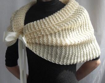 Hand Knit Bridal Wrap, Shrug, Wedding Wrap, Caplet,Bolero, Ivory Shawl, Wedding Jacket, Bridesmaids Wrap, Free shipping