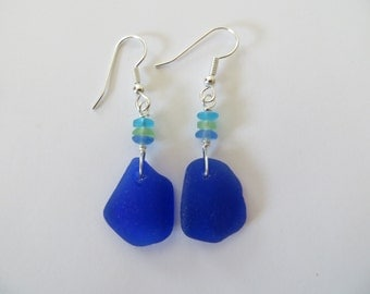 Cobalt blue sea glass beach glass earrings sterling silver