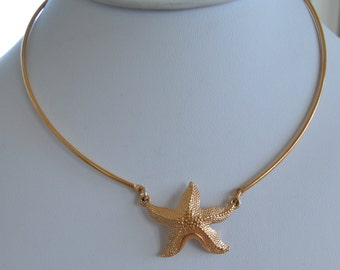 "Pretty Vintage Gold tone Starfish Collar Necklace, Adjustable, Sarah Coventry, 15""-17-1/2"""
