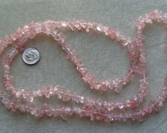 Strand Rose Quartz Small to Medium Dyed Chips (290)