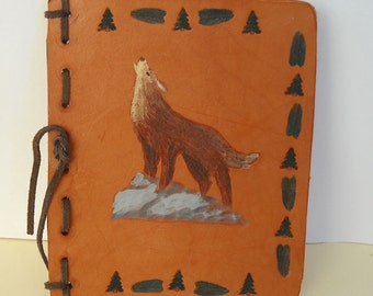 Wolf Howl  Leather Journal, Blank Book, Diary, Refillable
