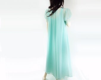 60s Peignoir, 60s Nighty, Aquamarine Nightgown, Mad Men Lingerie, 1960s Robe Sleep Set, Size Medium