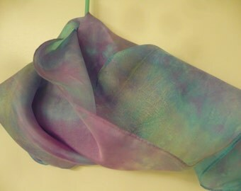 Hand-Dyed China Silk Scarf. 58 Inches Long Scarf. Women Accessories. Ombre Scarf. Tie-Dyed Scarf. Hand-Dyed Cotton Scarf. Dip Dye Scarf.