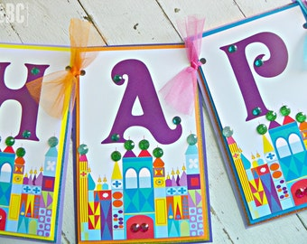 It's A Small World Happy Birthday Banner...Set of 1 Happy Birthday Banner