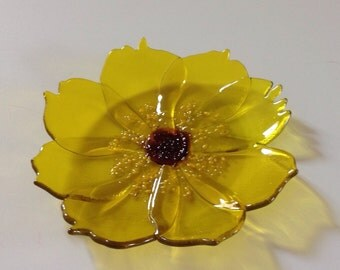 Fused Glass Yellow Cactus Flower  Bowl