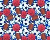 SPORTS FLANNEL FABRIC - By the Half Yard - Football - Basketball - Soccer