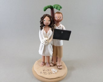 Bride & Groom Personalized Outdoor/ Beach Theme Wedding Cake Topper