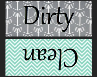 Gray and Mint Green Clean/Dirty Dishwasher Magnet