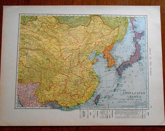 China, Japan, Korea, 1907 Antique vintage Map