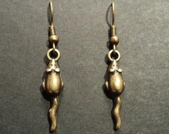 Rat - Bronze tone earrings