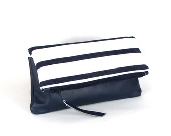 Navy and White Clutch ~ Blue Leather Fold Over Clutch ~ Blue and White Stripe Purse