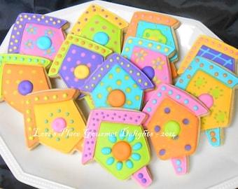 Bird House Cookies - Bird House Decorated Cookies - 1 Dozen