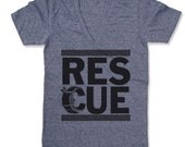 Unisex Pet RESCUE Deep V-Neck T Shirt  american apparel  XS S M L  (10 Color Options) - Proceeds Donated to Local Adoption