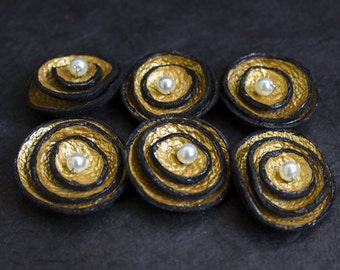 Jewelry supplies. Handmade leather flowers for crafts and jewelry making, Gold color 6 pcs TINY round findngs