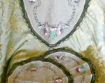 1930's Floral Embroidered Runner and Doilies
