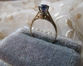 Danusharose Vintage .61 carat Violet Blue Iolite Like Synthetic Sapphire Etched WhiteRose 14K Gold Ring Size 6.25
