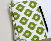6 x 9 Paper Filled Journals, Two, Modern Ikat, Green
