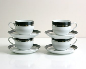 Mid Century Modern Pivotal Cups and Saucers in Montina by Ben Seibel for Mikasa