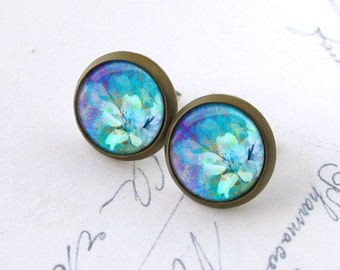 Monet Flower Posts, Blue Earrings. Flower Earrings. Glass Dome Earrings. Monet Stud Earrings. Purple Blue Post Earrings.