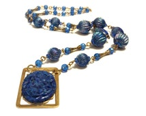 Mod Art Glass Necklace, Artisan Blue Lapis Jewelry, Mercury Glass Beads, 1960s Mod Art House Necklace,  Art Nouveau Revival Glass Necklace