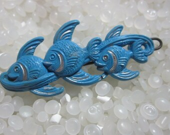 Three Blue fish  vintage hair barrette