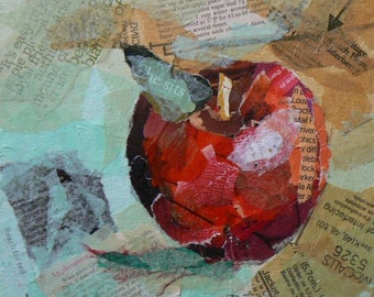"""Apple Collage Canvas Print, Apple Giclee Print, Choose your size, Free Shipping """"Apple of Many Words"""""""