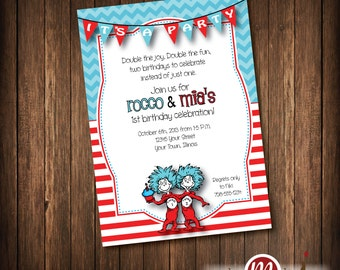 Thing 1 Thing 2 Invitation, thing one and thing two