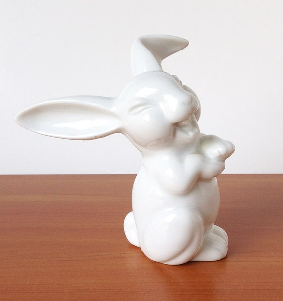 Vintage Classic Laughing Rabbit Figurine Porcelain Statue