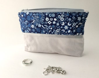 Jewelry Organizer. Anti Tarnish. Travel Bag, Navy Blue and Gray