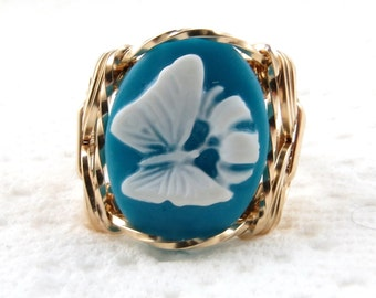 White Butterfly Cameo Ring 14K Rolled Gold Jewelry Any Size