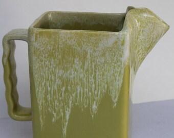 Vintage GONDER Pitcher Chartreuse Lime Green Volcanic Glaze Rectangular