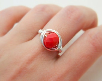 Red Ring - Jewelry Rings - Handmade Wire Wrapped RING Size 6.5 - Red Ruby Rondelle Burgundy Wine Ring Seductive - July Birthstone Feminine