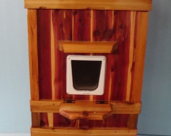 Outdoor 2 1/2-Story  Heated Cedar Cat House (Ships Next Bus. Day), bed, shelter, bed, condo