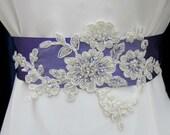 Bridal Sash Belt Wedding Sashes Purple Ivory Beaded 3D Applique