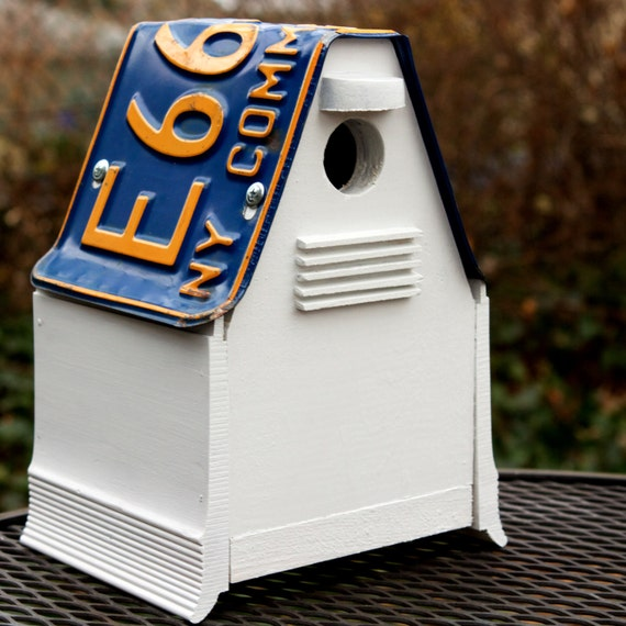 Upcycled NY License Plate Bird House Nest Box For Black-capped Chickadees or Carolina Wrens gardening nest gift for your birder friend
