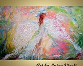 Angel Girl Painting Embellished Giclee on Canvas, Spring Landscape, Pastel Colors WINGS Modern Art Canvas Limited edition by Luiza Vizoli