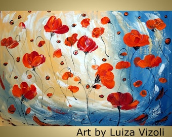 SALE Original Canvas Painting 36X24  Modern Large Oil Painting Poppies FLOWERS White Red Blue Cream large Canvas  Luiza Vizoli