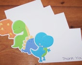 Dino Friends Party - Set of 8 Assorted Dinosaur Thank You Cards by The Birthday House